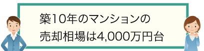 築10年のマンションの売却相場は4,000万円台